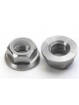 Pair of M10 nuts in Titanium with integrated Nylstop